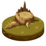 Trädstubbe på jordplattformen Arkivbild