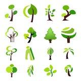 Trädsymboler royaltyfri illustrationer