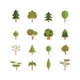 Trädsymbolsuppsättning Arkivfoto