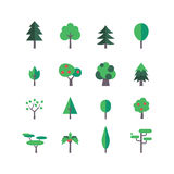 Trädsymbolsuppsättning Royaltyfria Bilder