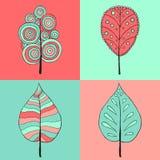 Trädteckenillustration Fyra stilar av symbolen på fyra färgfyrkanter Royaltyfria Bilder