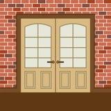 Trädubbla dörrar för plan design Royaltyfri Foto