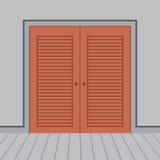 Trädubbla dörrar för plan design Arkivbild