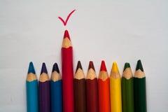 Träfärgrika färgpennor ritar den röda fästingen på vit bakgrund Arkivbild