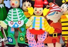 Träfärgrika leksaker Fotografering för Bildbyråer