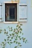 Träfönster och målningvägg royaltyfri foto