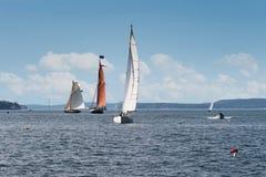Träfartyg kryssar in i vinden Royaltyfri Bild