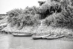 Träfartyg på att förtöja på flodbanken i Santarem, Brasilien Arkivbild