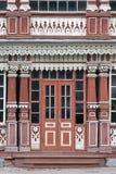Träfasadbyggnad Ytterdörren av sommarklubban av den nobla Enheten, Ryazan, 1905 Ryssland Royaltyfri Bild