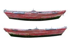 Träfiskebåt som isoleras på vit bakgrund Fotografering för Bildbyråer