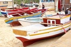 Träfiskebåtstrandfolk, Kap Verde royaltyfri foto
