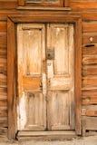 träforntida dörr Fotografering för Bildbyråer