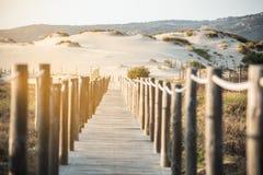 Träfotbro vid stranden Royaltyfria Foton