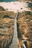 Träfotbro vid stranden Royaltyfri Bild