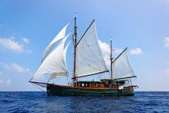 trägammal segelbåt Arkivfoton