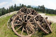 trägammala hjul Royaltyfri Fotografi