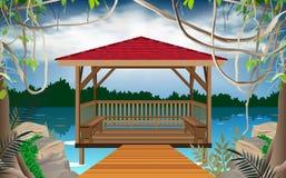 Trägazebo på floden royaltyfri illustrationer
