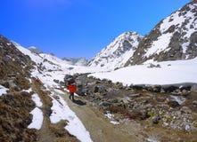 Träger sherpa tragendes Gepäck auf Wanderung zu niedrigem Lager Everest lizenzfreies stockbild