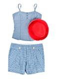 Trägershirt, Kurzschlüsse und Red Hat Lizenzfreies Stockbild