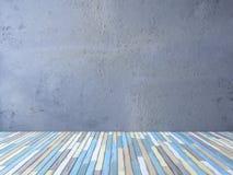 trägolv 3ds och sprucken betongvägg Arkivbild