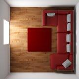 Trägolv med den röda lädersoffan Royaltyfria Bilder