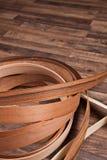 Trägolv med liten fanér Arkivbild