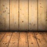 Trägolv och vägg Arkivfoto