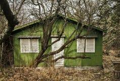 Trägrön bungalow Royaltyfria Bilder