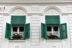 Trägröna fönsterslutare och röda blommor på ett hus Arkivfoton