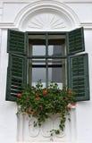 Trägröna fönsterslutare på lantligt hus Royaltyfri Foto