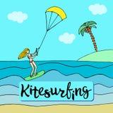 Trägt blondes Mädchen im rosa Badeanzug zur Schau, der auf dem kiteboard steht Stockbild