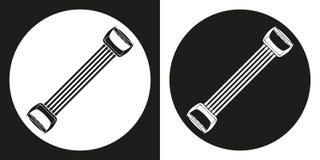 Trägt Expanderikone zur Schau Schattenbild trägt Expander zur Schau Lizenzfreies Stockbild