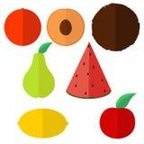 Trägt Hintergrund in der flachen Art Früchte Lizenzfreies Stockbild