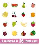 Trägt Ikonen Früchte Lizenzfreie Stockfotografie