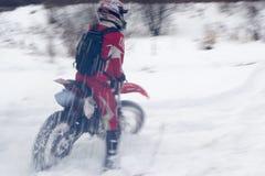 Trägt Motorradwinter zur Schau Stockbild