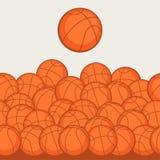 Trägt nahtloses Muster mit Basketballikonen herein zur Schau Stockfotografie