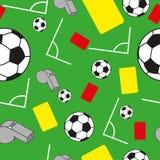 Trägt nahtloses Muster mit Fußballfußballsymbolen zur Schau Stockfoto
