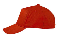 Trägt rote Kappe zur Schau lizenzfreie stockbilder