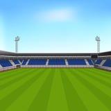 Trägt Stadion mit Sitzplätzen für Zuschauer zur Schau Stockfotografie