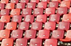 Trägt Stadionsstühle zur Schau Stockfoto