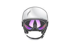Trägt Sturzhelm mit Schutzbrillen zur Schau Schutzhelme für Sport ausführliches Thema Typografische Aufkleber, Aufkleber Lizenzfreies Stockbild