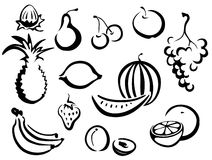 Trägt Symbolansammlung Früchte Stockfoto