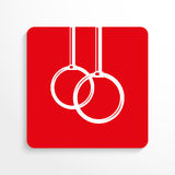 Trägt Symbole zur Schau Übungen auf den Ringen Übersetzt Ikone Rotes und weißes Bild auf einem hellen Hintergrund mit einem Schat Stockbild