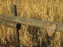 Trähjärta med dany dedikation 'älskar jag dig ', royaltyfri bild