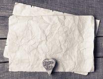 Trähjärta på gammalt papper Royaltyfri Fotografi