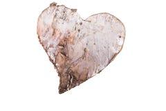 Trähjärta som isoleras på vit Arkivbilder