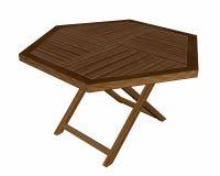 Trähopfällbar tabell - 3D framför royaltyfri illustrationer