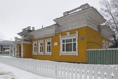 Trähus, en monument av arkitektur av det 19th århundradet, staden av Vologda, Ryssland Arkivbild