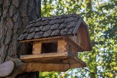 Trähus för fåglar med original- taknärbild fotografering för bildbyråer