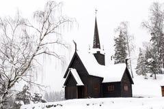 trähus för 19th århundrade i Norge Arkivbild